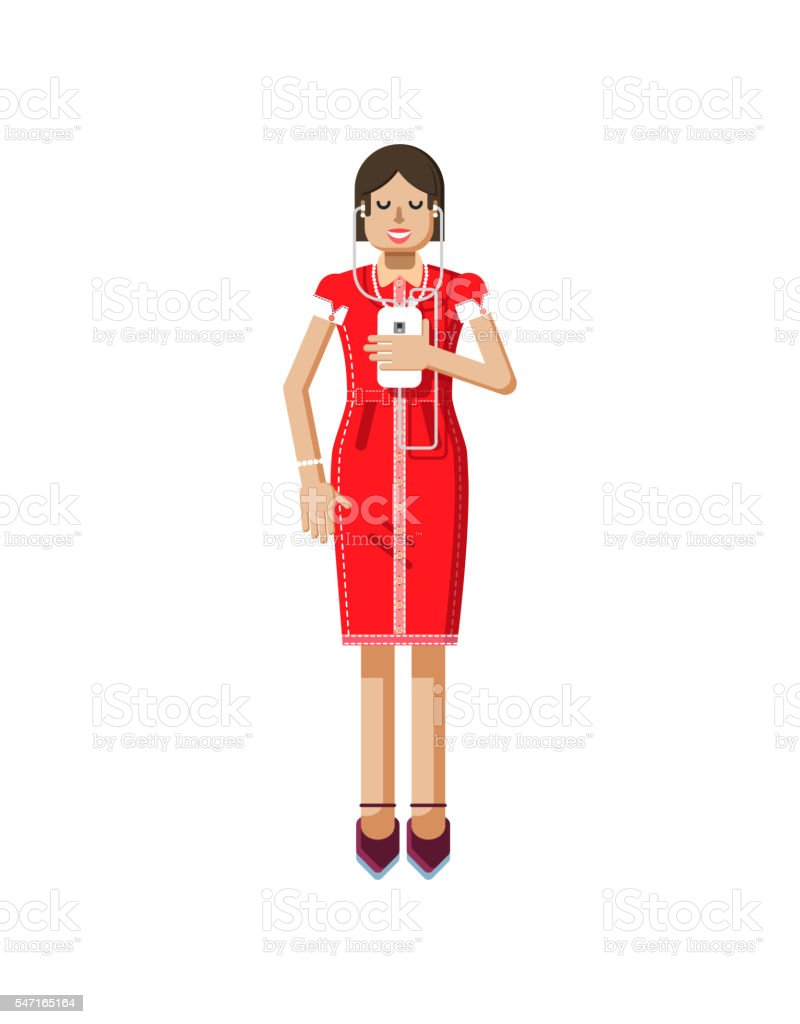illustration isolated of European girl with dark hair in red vector art illustration