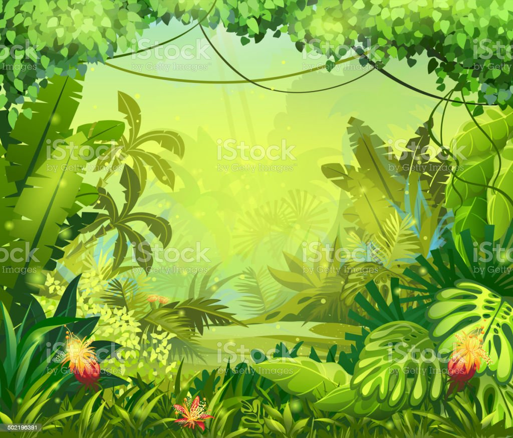 Illustration jungle with red flowers vector art illustration