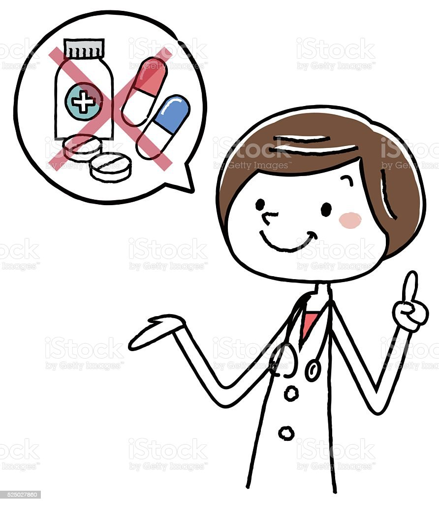 Illustration material: female doctor warning drugs vector art illustration