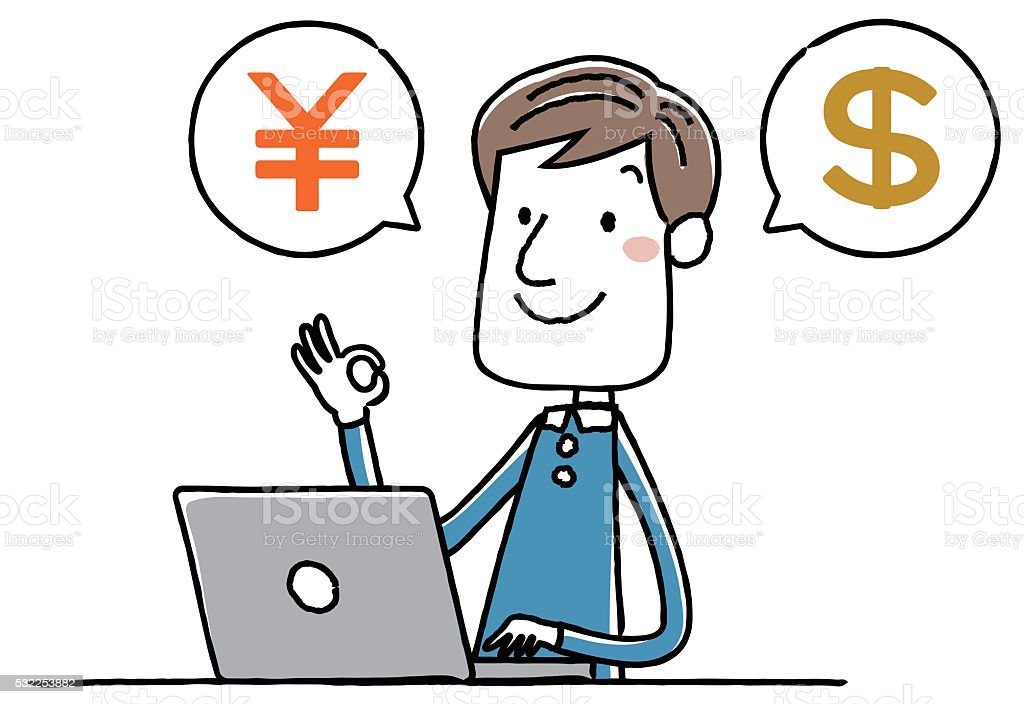 Illustration material: young man personal computer money dollar vector art illustration