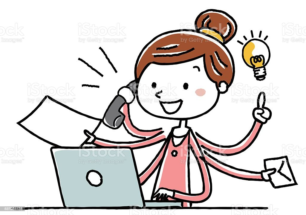 Illustration material: young woman PC multitasking vector art illustration