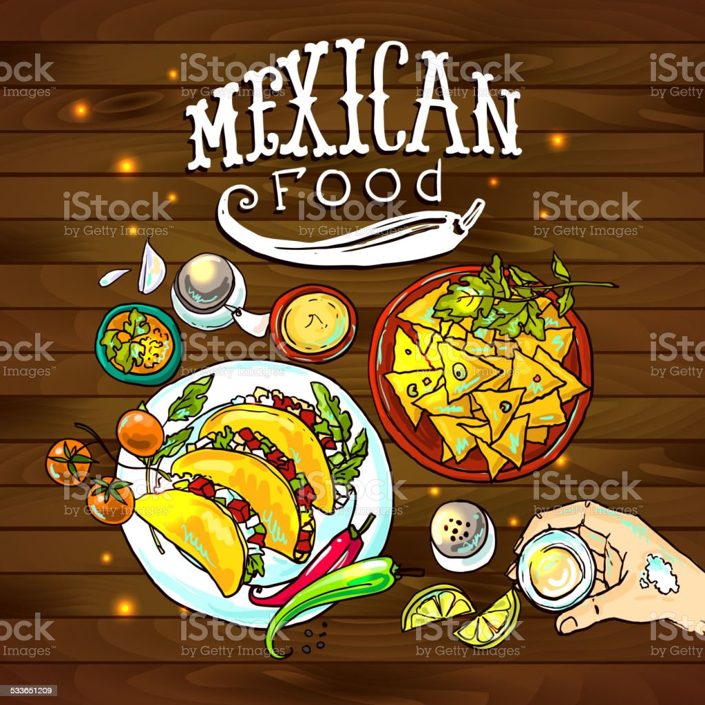 illustration mexican food vector art illustration