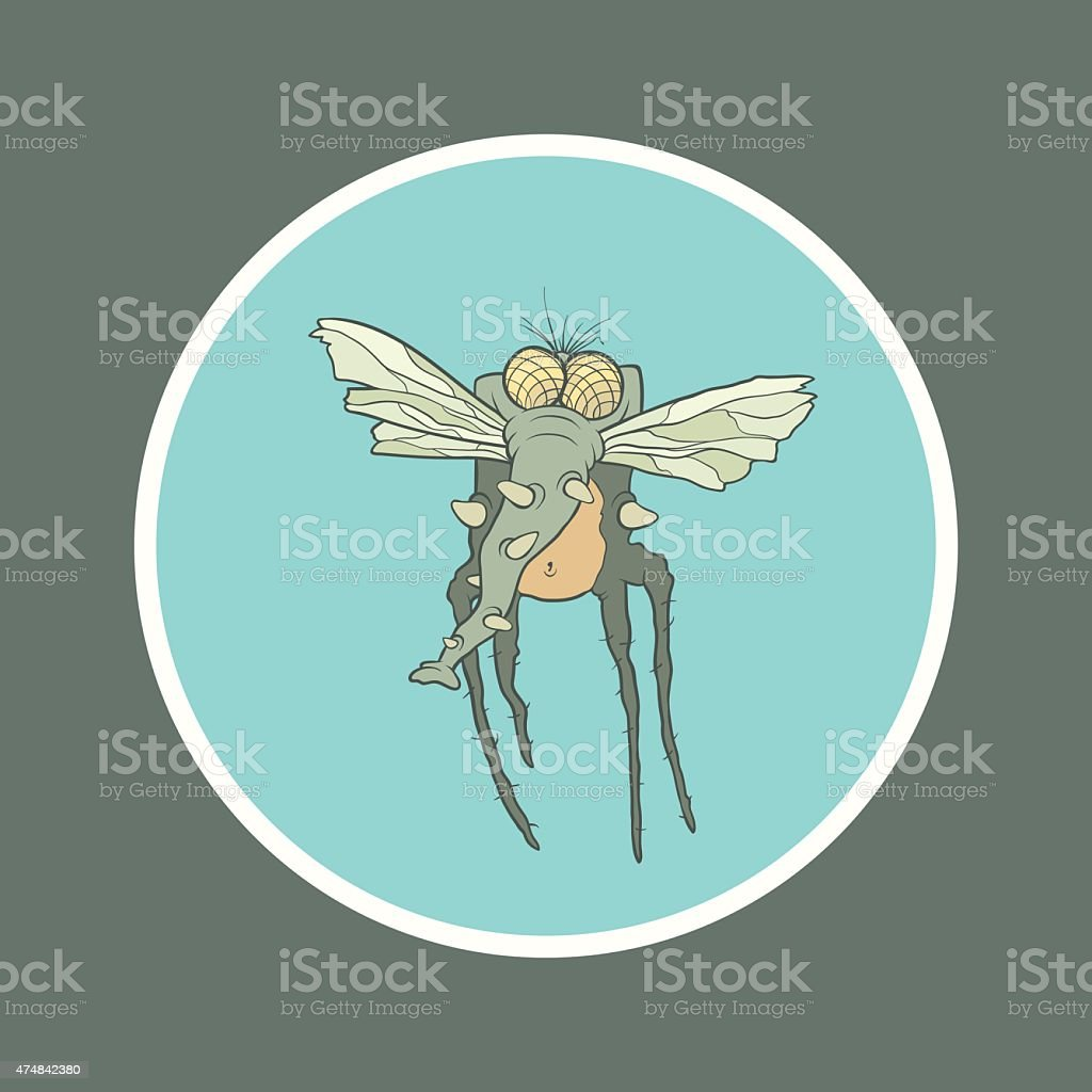 Illustration monster fly with long legs, wings and proboscis vector art illustration