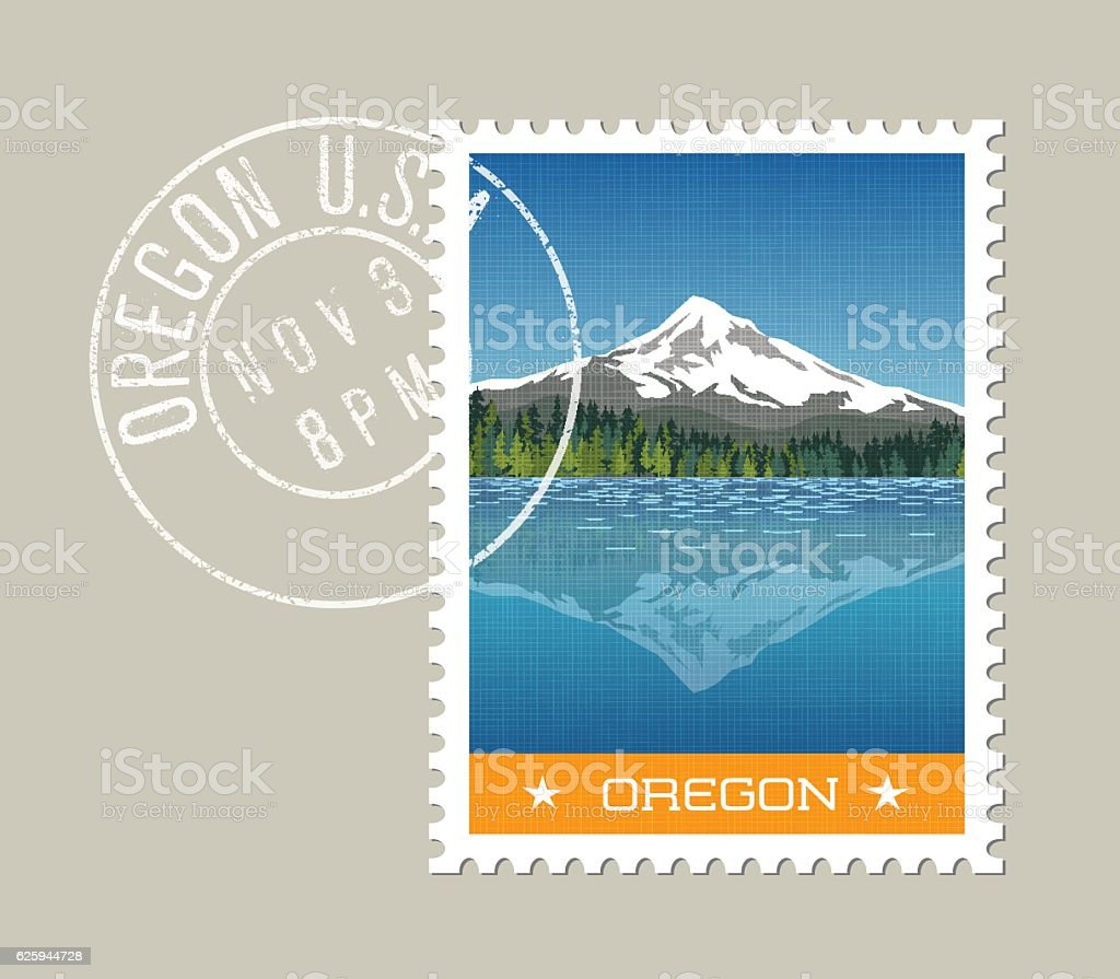 Illustration Mt. Hood behind lake with reflection. Oregon, United States vector art illustration