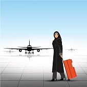 Illustration  muslim woman with suitcase and travel bag.