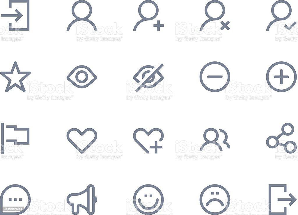 Illustration of 20 light gray communication icons vector art illustration
