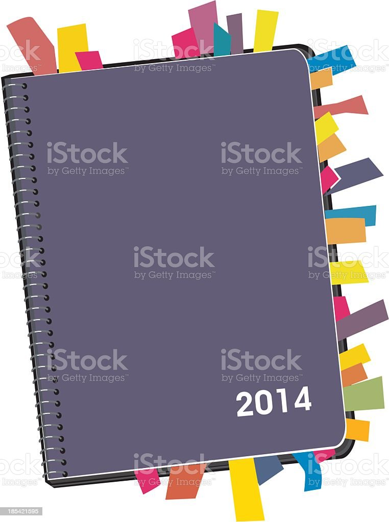 Illustration of a 2014 personal planner with appointments royalty-free stock vector art