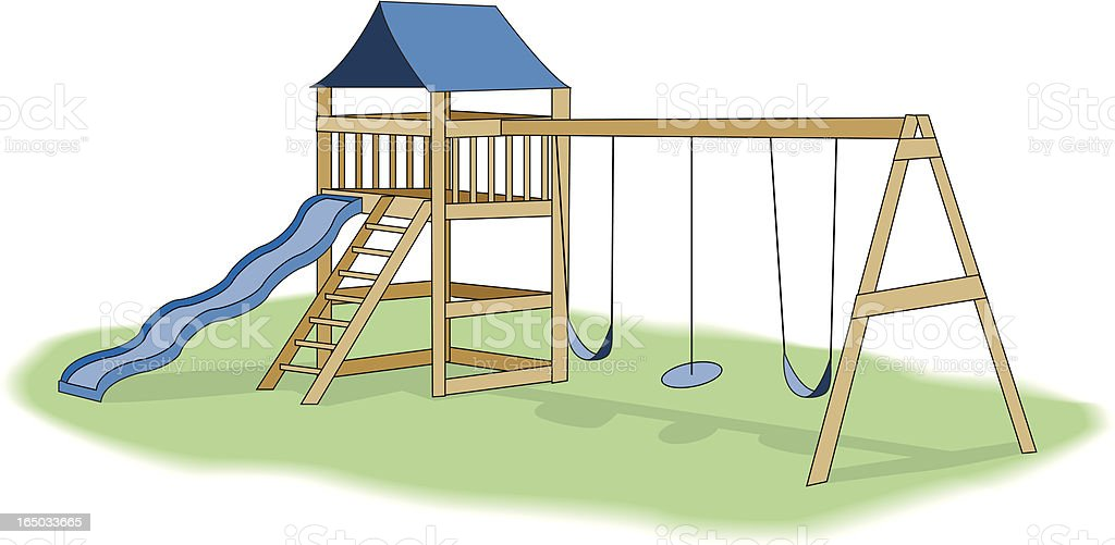 Illustration of a backyard playground with slide and swings vector art illustration