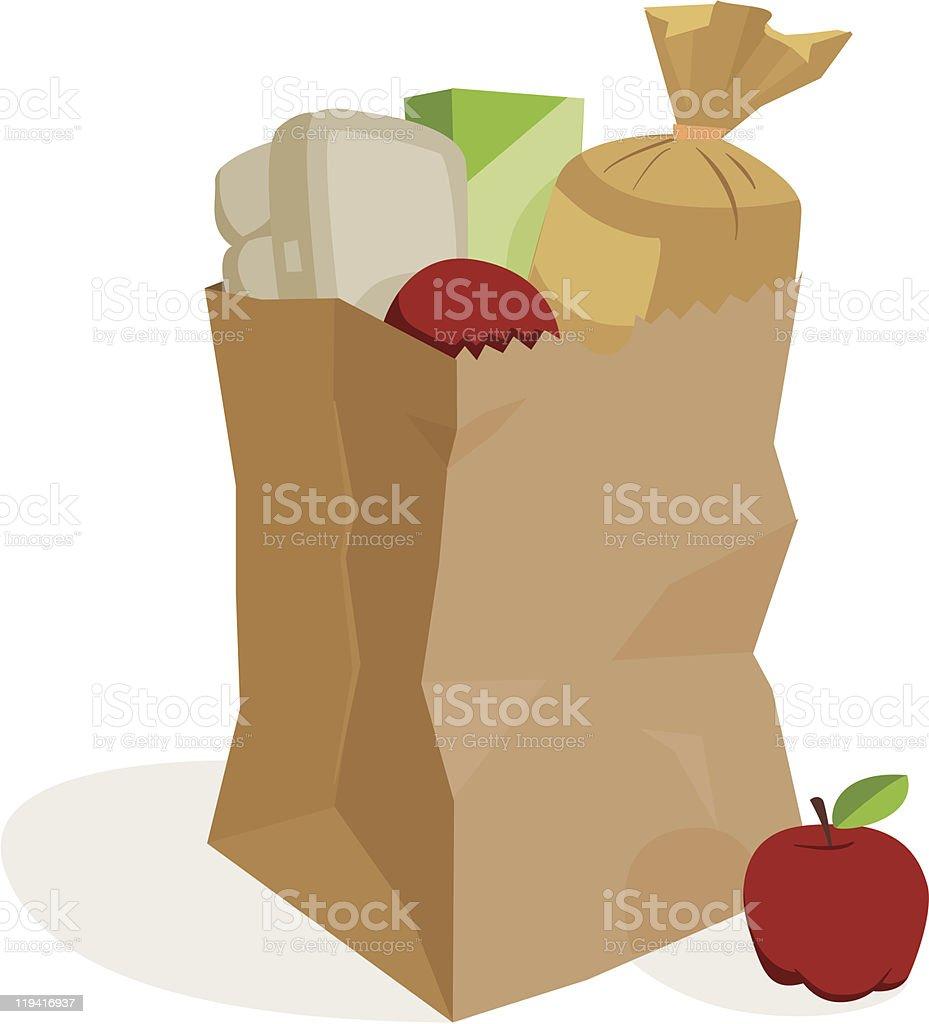 Illustration of a bag of groceries vector art illustration