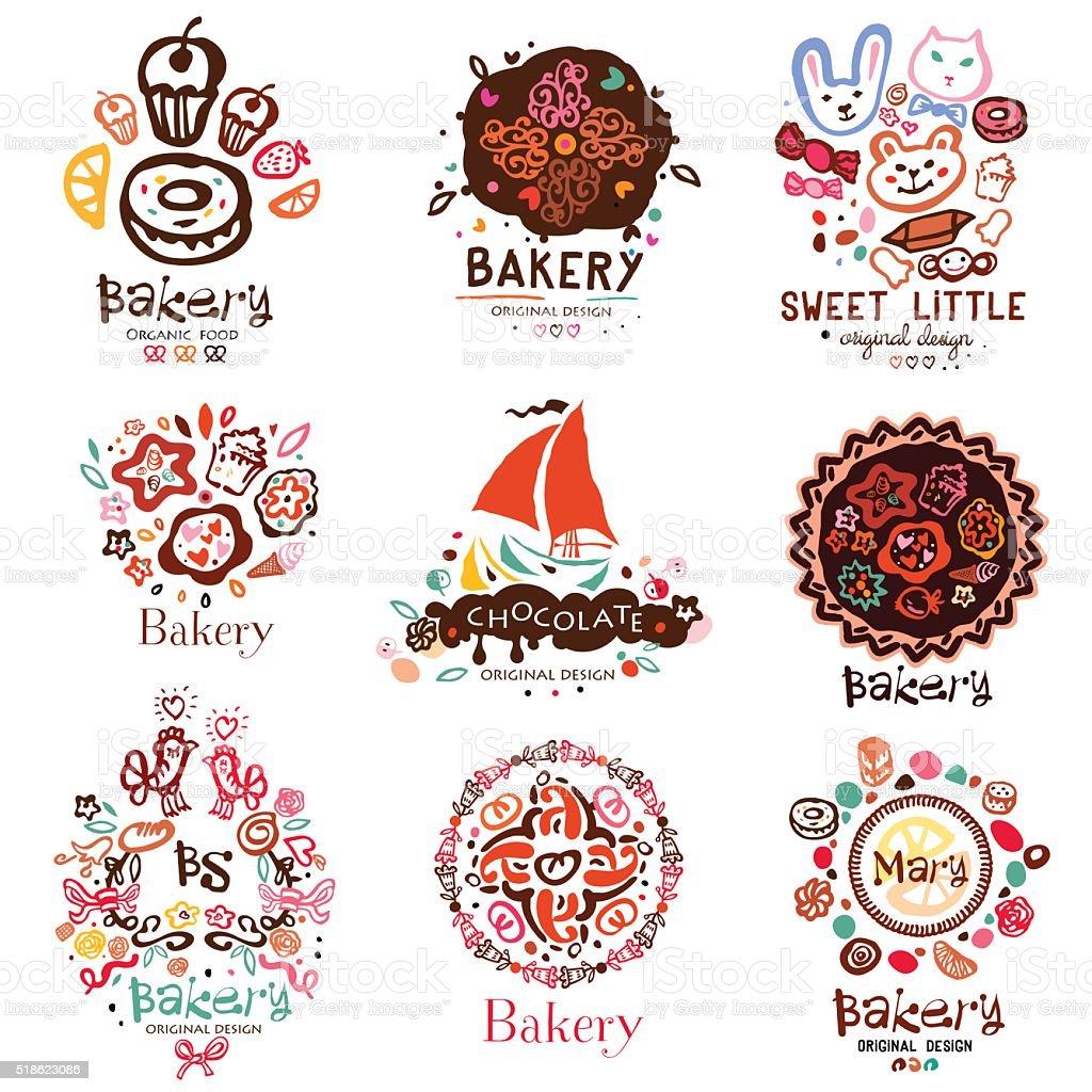 Illustration of a bakery, symbols. vector art illustration