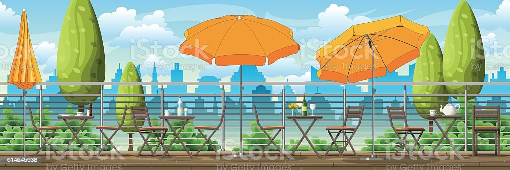 Illustration of a balcony, a terrace with tables and chairs vector art illustration