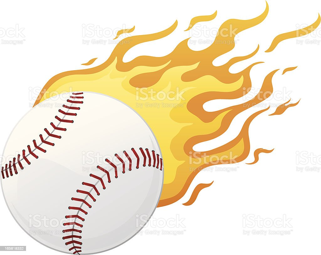 Illustration of a baseball on fire royalty-free stock vector art