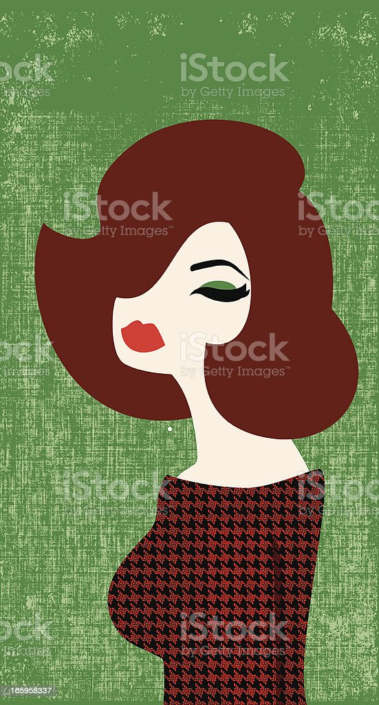 Illustration of a beautiful red headed woman on green vector art illustration