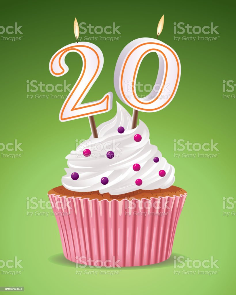Illustration of a birthday cupcake celebrating 20 years old royalty-free stock vector art