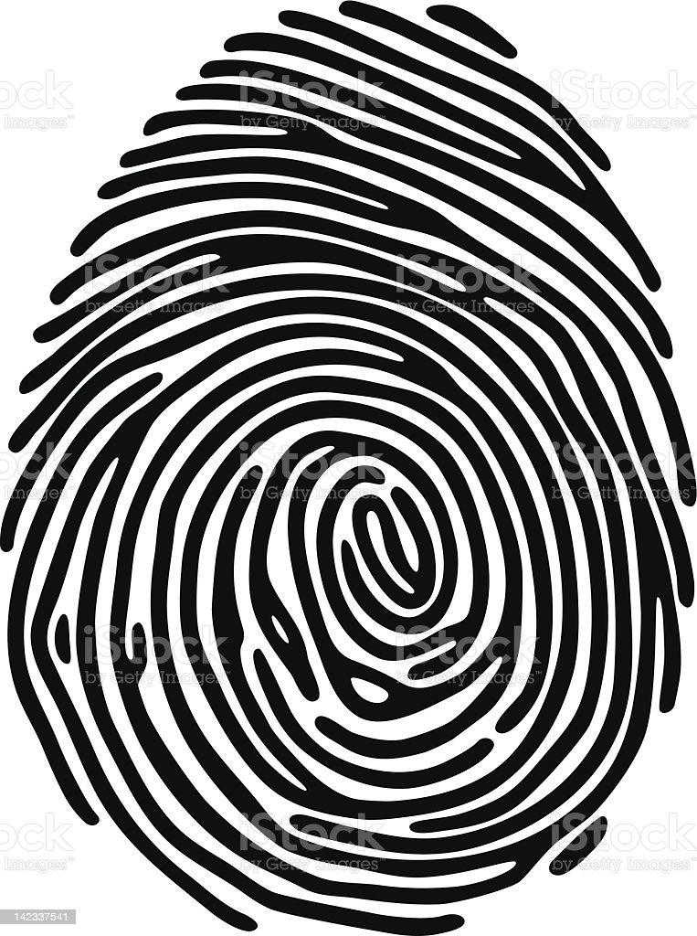 Illustration of a black fingerprint on a white background royalty-free stock vector art