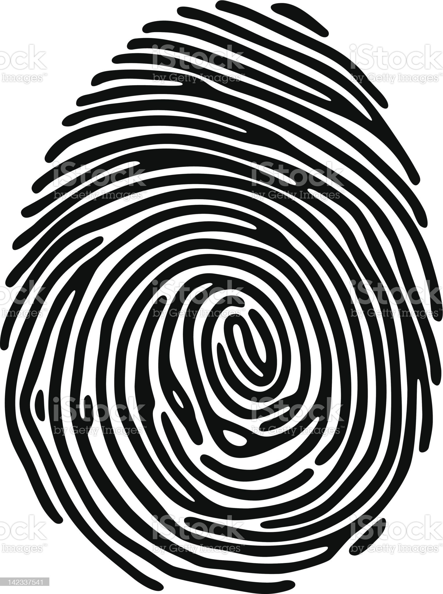 Illustration of a black fingerprint on a white background royalty-free stock vector art