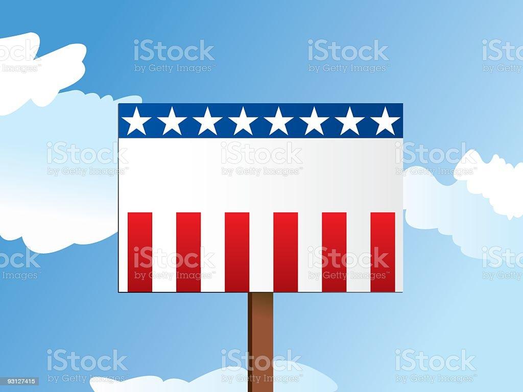 Illustration of a blank USA-themed political sign vector art illustration