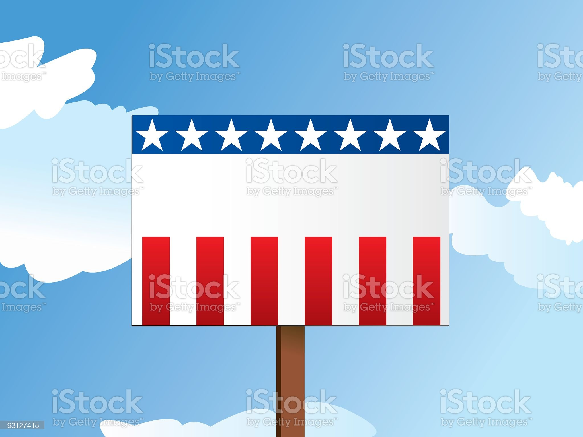 Illustration of a blank USA-themed political sign royalty-free stock vector art