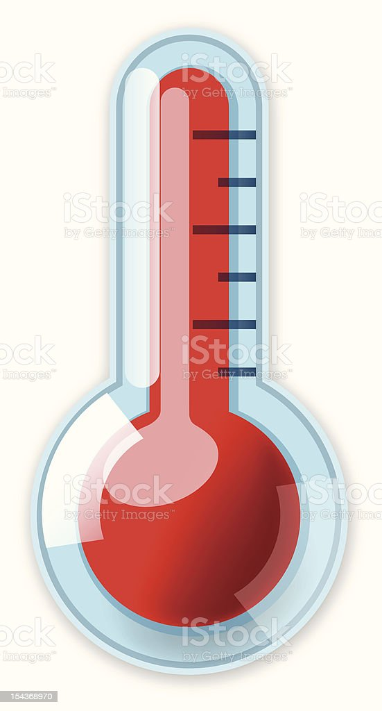Illustration of a blue and red thermometer royalty-free stock vector art