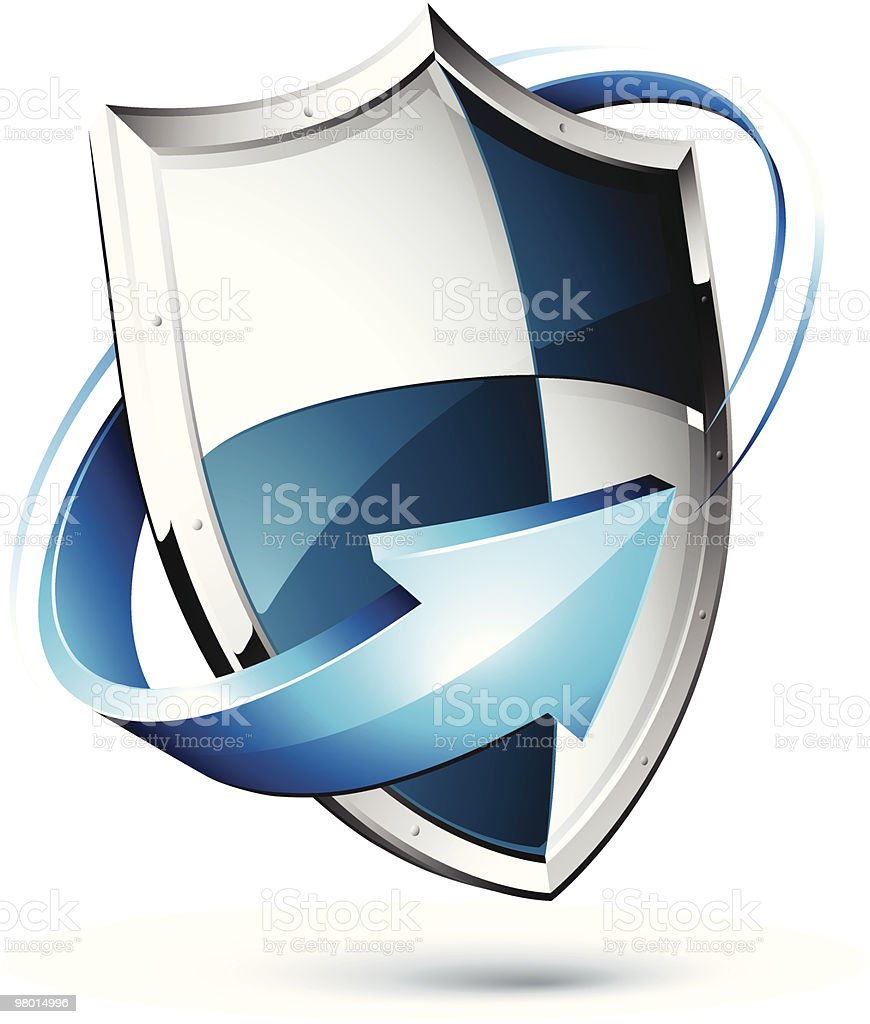 3D illustration of a blue and silver shield with arrow royalty-free stock vector art