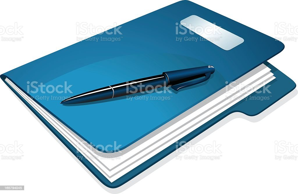 Illustration of a blue folder with papers and pen on top vector art illustration