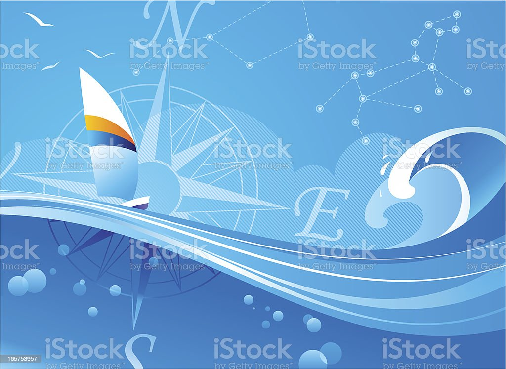 A illustration of a boat sailing on waves vector art illustration