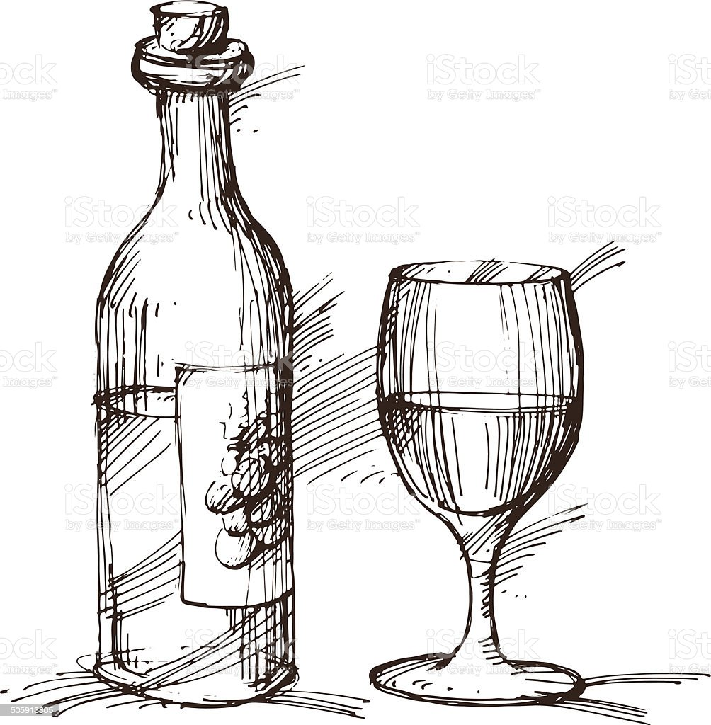 Illustration of a bottle of wine with a wineglass vector art illustration