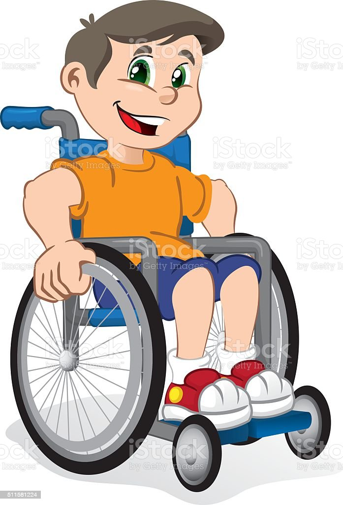 Illustration of a boy child smiling in a wheelchair vector art illustration