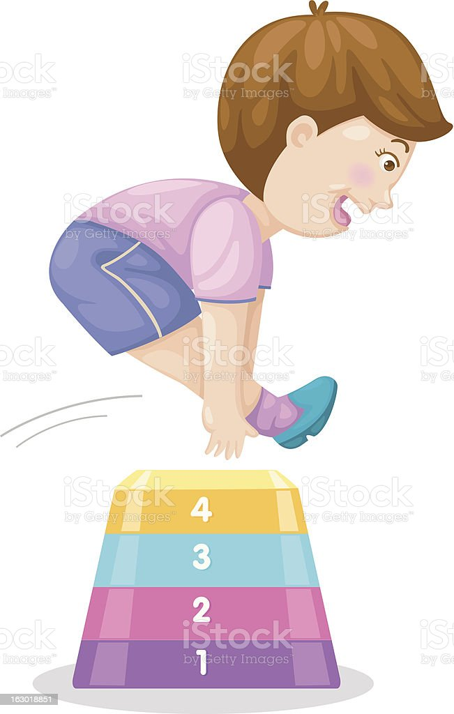 Illustration of a boy jumping hurdle vector art illustration