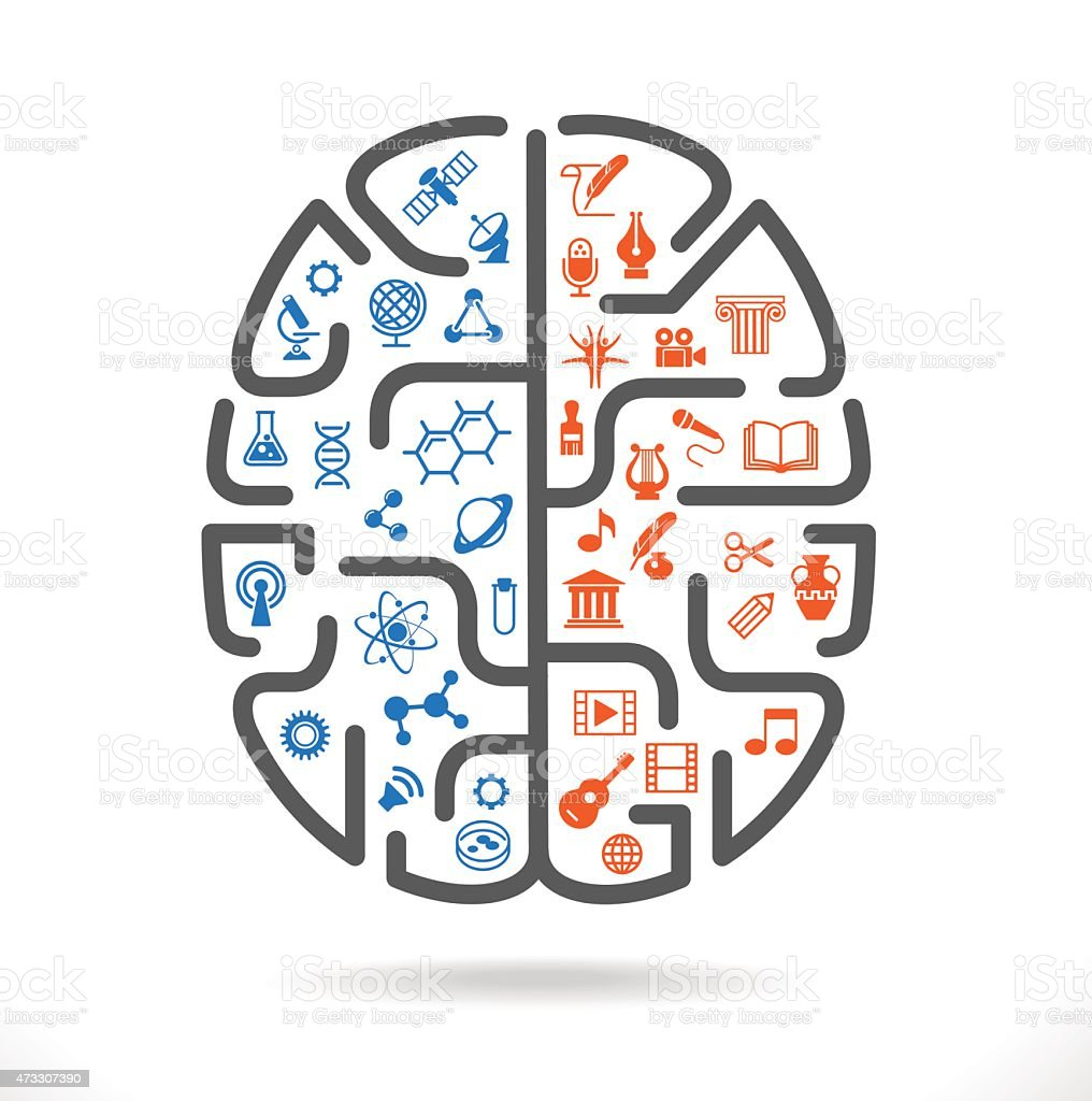 Illustration of a brain with colored science and art icons vector art illustration