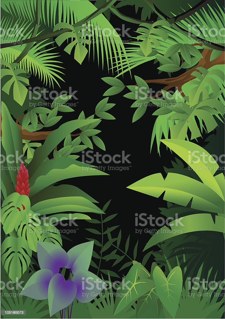 Illustration of a bright green forest with flowers vector art illustration