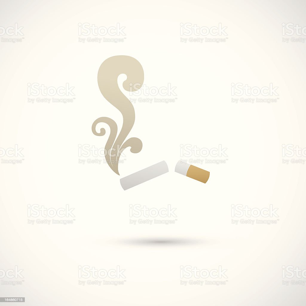 Illustration of a broken cigarette and smoke vector art illustration