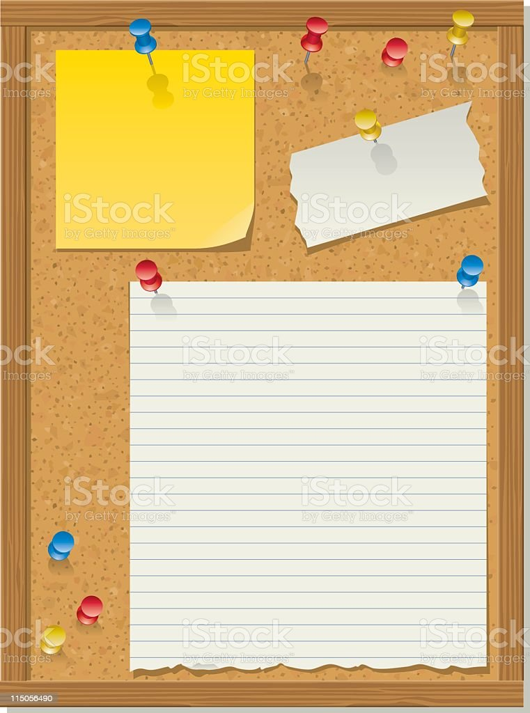 Illustration of a bulletin board with three papers tacked on royalty-free stock vector art