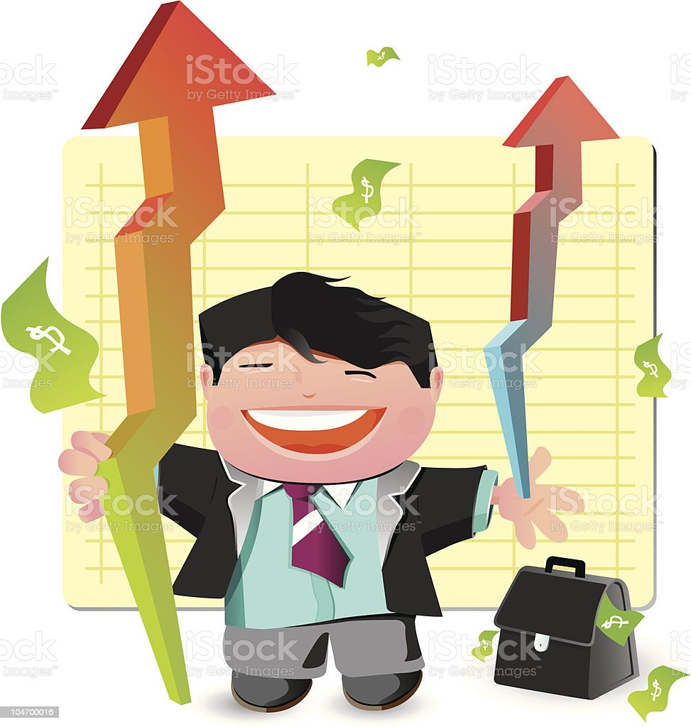 Illustration of a business man with graph chart royalty-free stock vector art