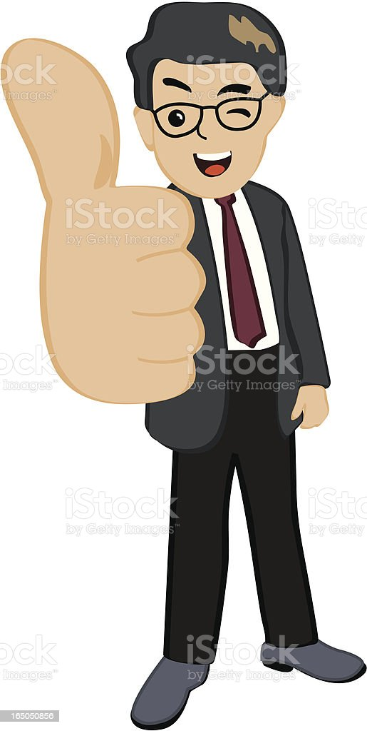 Illustration of a businessman giving a thumbs up vector art illustration
