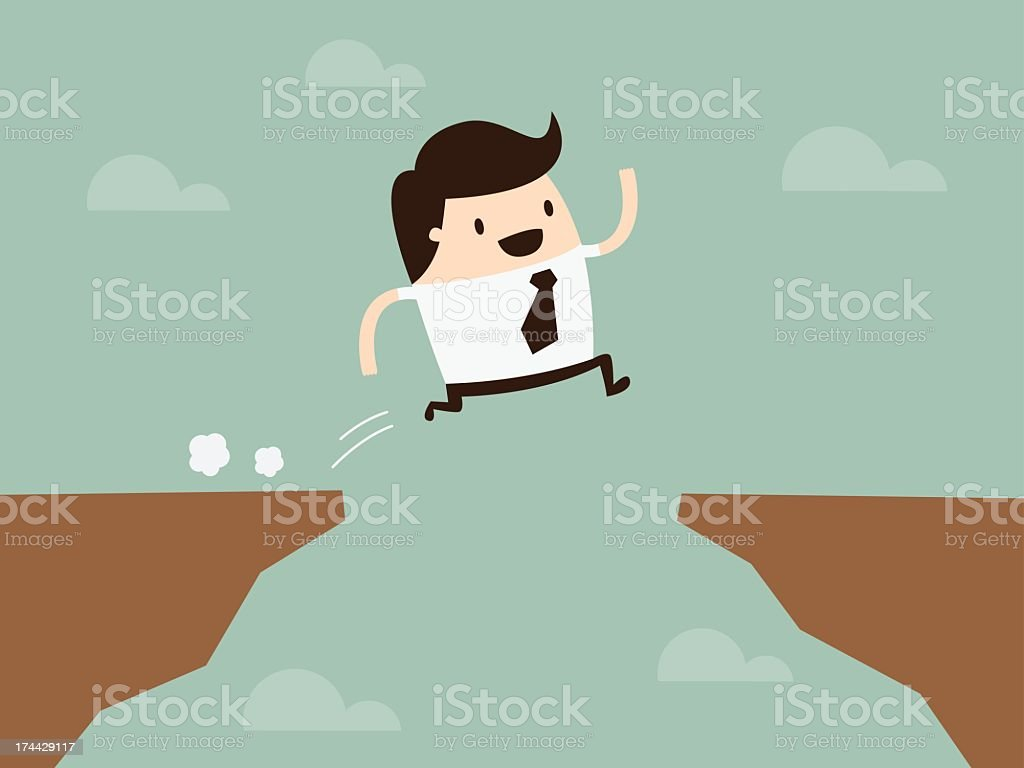 Illustration of a businessman jumping between two cliffs vector art illustration