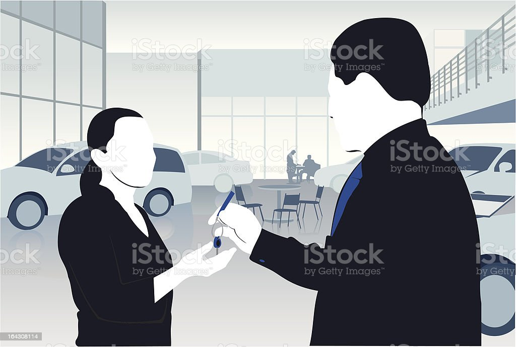 Illustration of a car salesperson handing keys to a woman royalty-free stock vector art