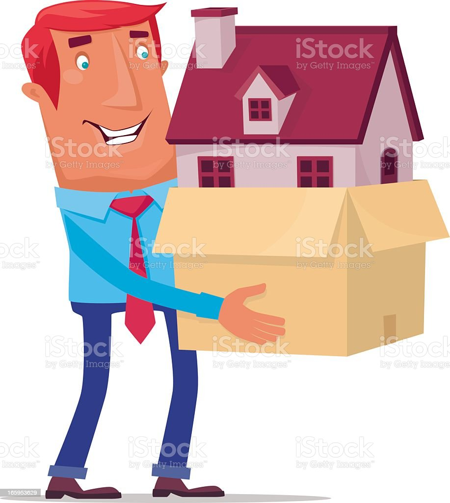 Illustration of a cartoon man carrying a house inside a box royalty-free stock vector art
