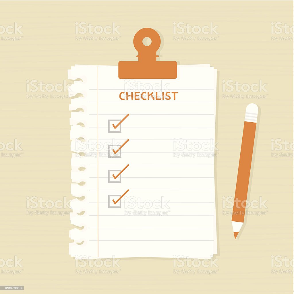 A illustration of a checklist and pencil vector art illustration
