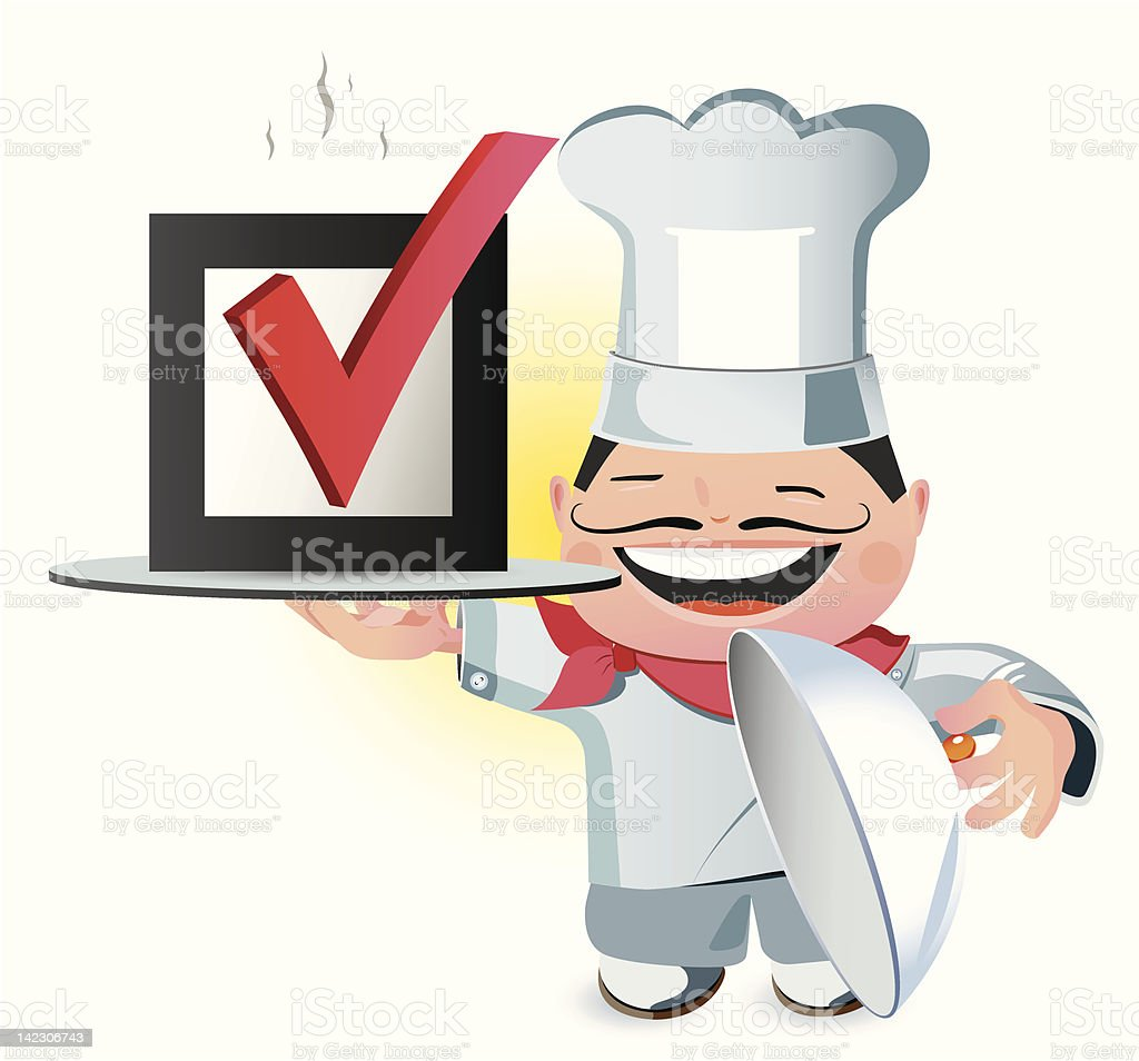 Illustration of a chef carrying correct mark royalty-free stock vector art