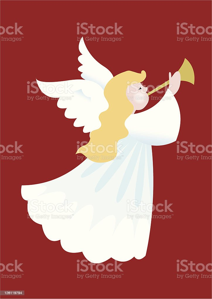 Illustration of a Christmas angel blowing a horn royalty-free stock vector art