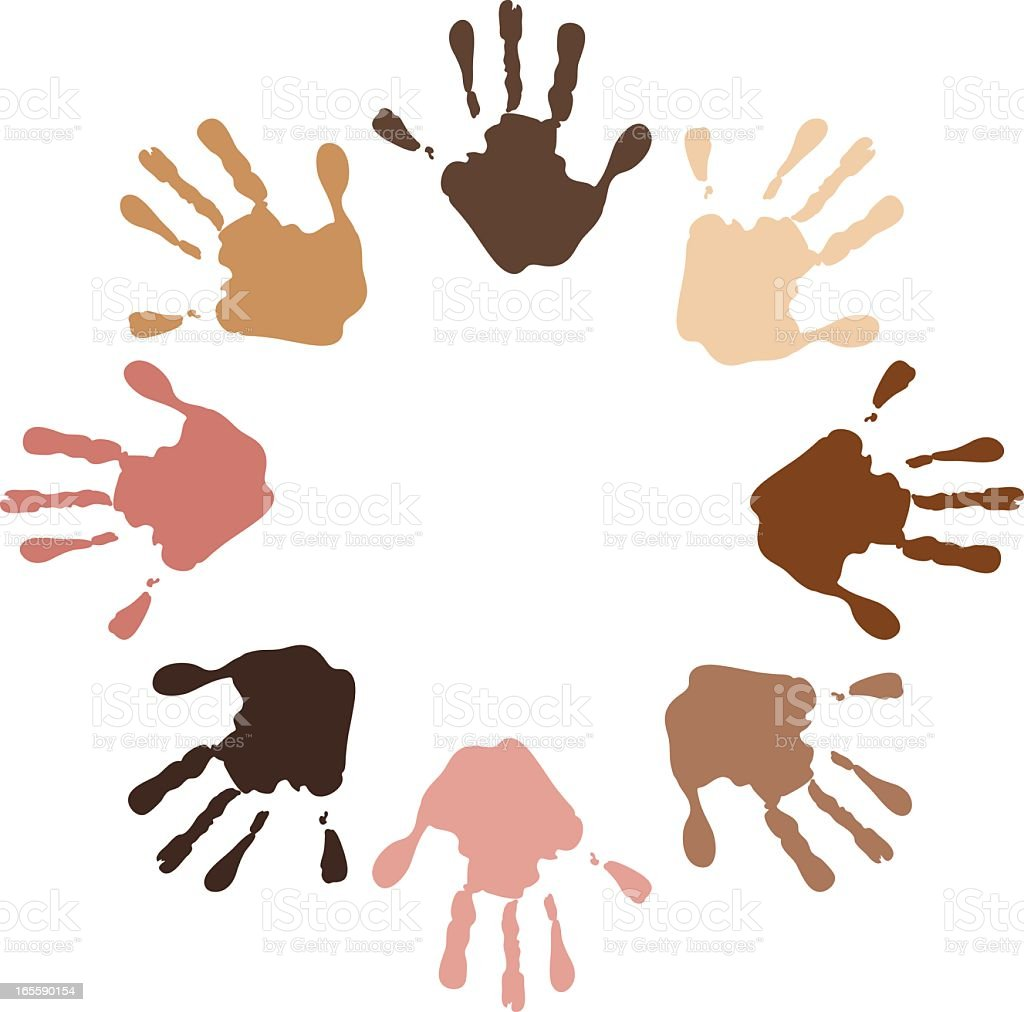 Illustration of a circle of handprints on different colors vector art illustration