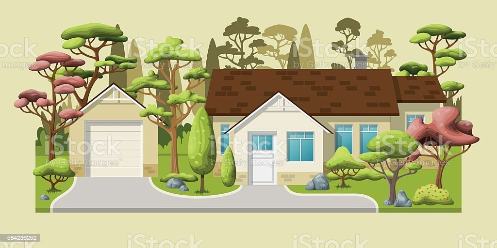 Illustration of a classic family house with trees vector art illustration