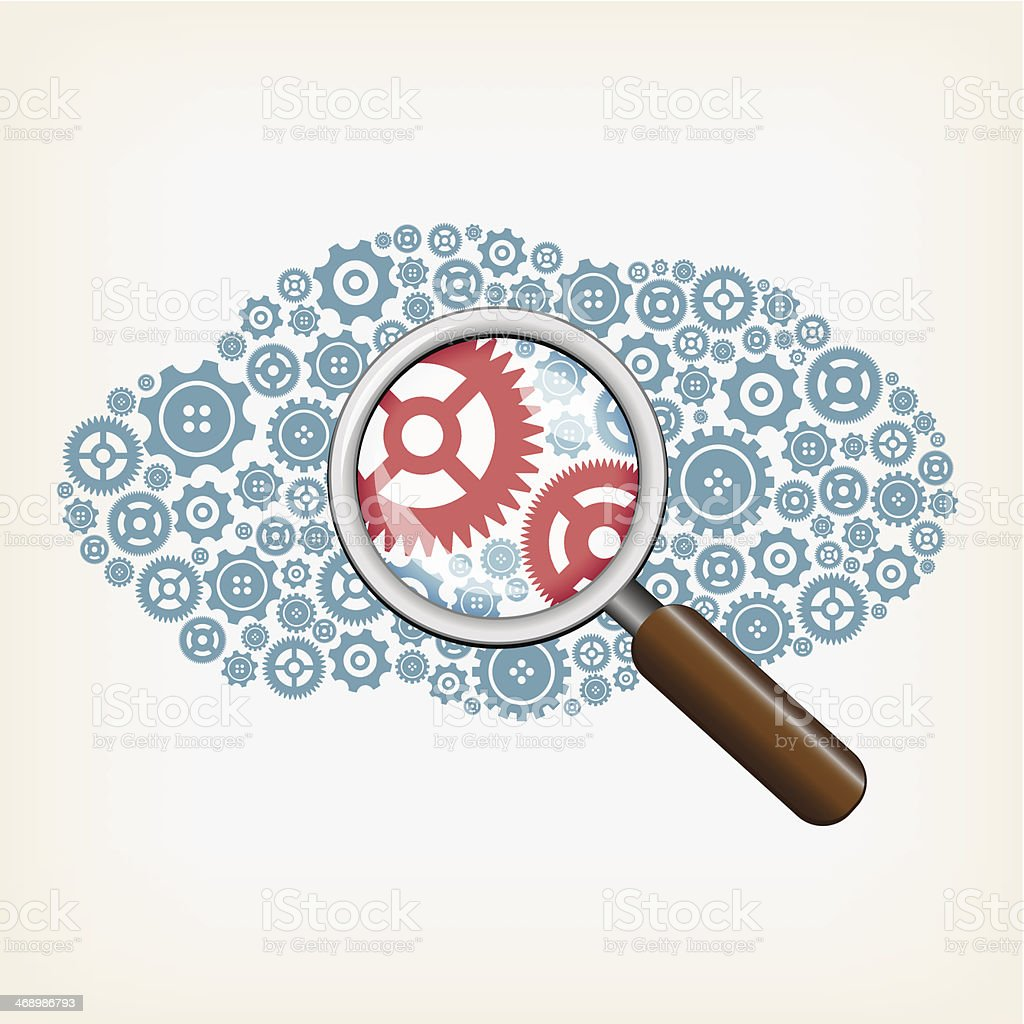 A illustration of a cloud concept with a magnifying glass vector art illustration