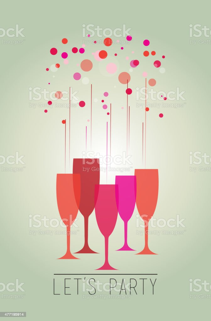 Illustration of a colorful bubbles and glasses – Let's party vector art illustration