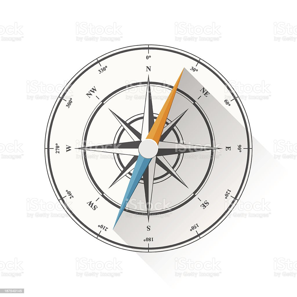 Illustration of a compass with a blue and orange hand royalty-free stock vector art