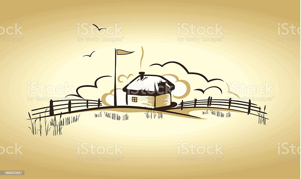 Illustration of a country house on the horizon vector art illustration
