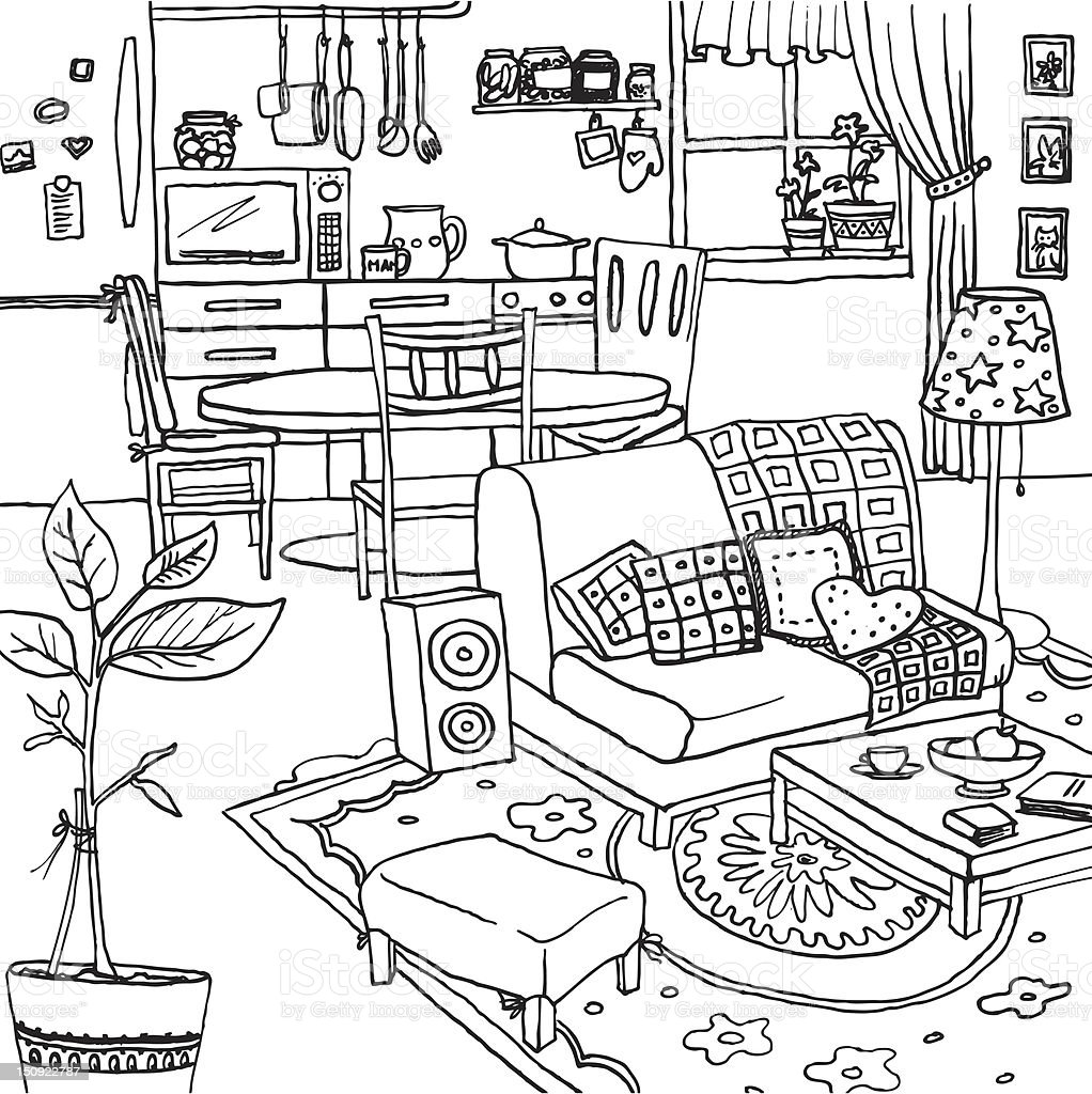 Black And White Artwork For Bedroom Grey Paint Colors Bedroom Art For Kids Bedroom Proper Bedroom Arrangement: Illustration Of A Cozy Apartment Stock Vector Art