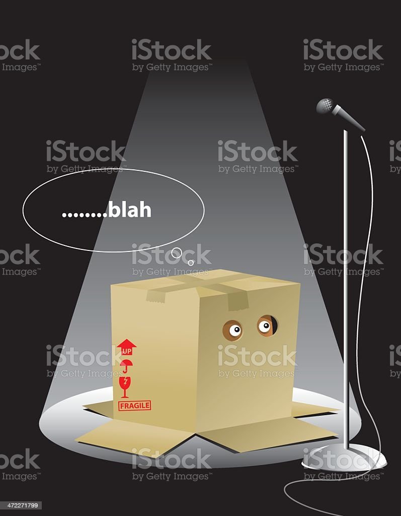 Illustration of a creature in a box with the text blah vector art illustration