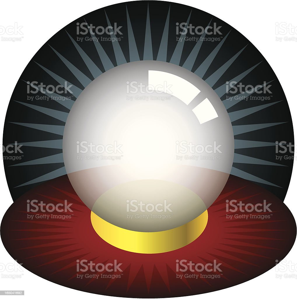 Illustration of a crystal ball on a red and yellow mat royalty-free stock vector art